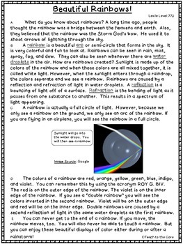 """""""Rainbows"""" Close Reading - 3rd-6th Grade Text Passages and Graphic Organizers"""