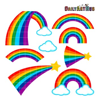Rainbows Part 2 Clip Art - Great for Art Class Projects!