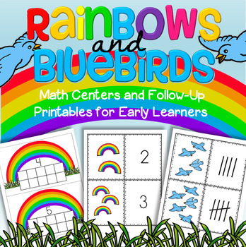 Spring Rainbows & Bluebirds Math Centers & Printables