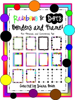 Rainbows and Dots Frames & Borders Clip Art for Personal and Commercial Use!