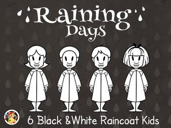 Raincoat Kids- Black&White Raincoat Kids Cliparts