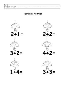 Raindrop Addition and Subtraction K.OA.1 & K.OA.2