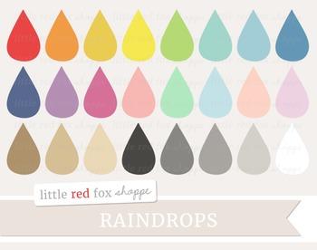Raindrop Clipart; Shape, Weather, Rain Drop