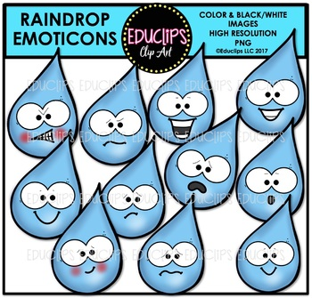 Raindrop Emoticons Clip Art Bundle {Educlips Clipart}