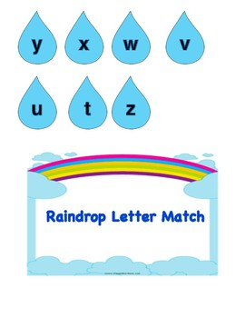 Raindrop/Umbrella Letter Match File Folder