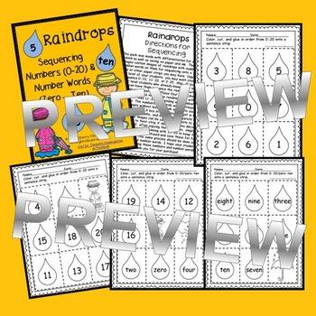 Raindrops Sequencing - Numbers (0-20) and Number Words (zero-ten)