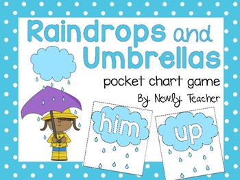 Raindrops and Umbrellas (pocket chart game)