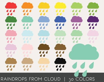 Raindrops from cloud Digital Clipart, Raindrops from cloud
