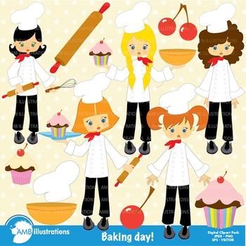 Clipart, Girl chefs in kitchen Clip art, Digital Images, Scrapbook, AMB-218