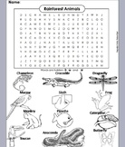 Rainforest Animals Word Search