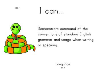 Rainforest 3rd grade English Common core standards posters