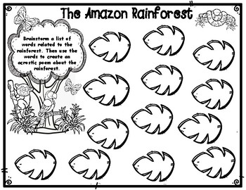 Rainforest Acrostic Poem Poetry Form with Brainstorming Recording Form