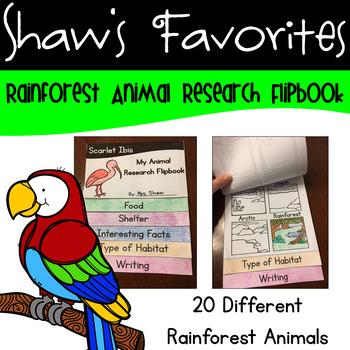 Rainforest Animal Flipbook {20 Different Animals}