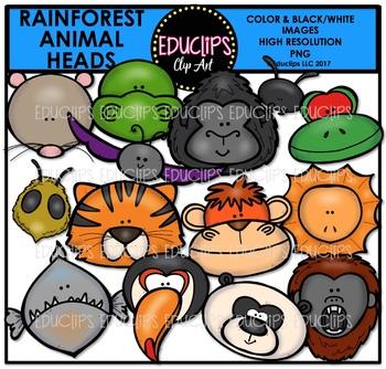 Rainforest Animal Heads Clip Art Bundle {Educlips Clipart}