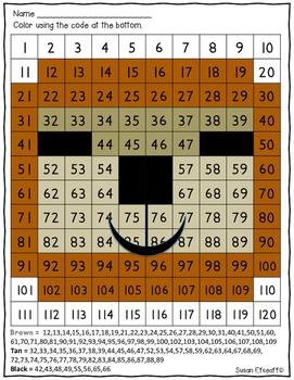 Math Coloring Sheets- 120s Chart- Rainforest Animal theme -Number Sense