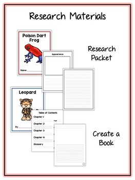 Rainforest Animal & Plant Research Project 20 Types, Vocab Cards, Packet, Book