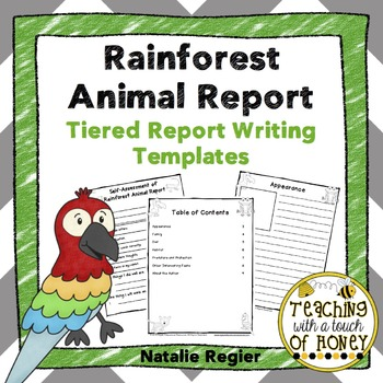Rainforest Animal Report: Tiered Report Writing Templates