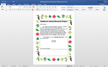 Rainforest Animal Research Project Letter Home and Research Packet