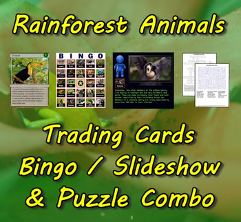 Rainforest Animal Trading Cards, Bingo/Slideshow and Puzzle Combo