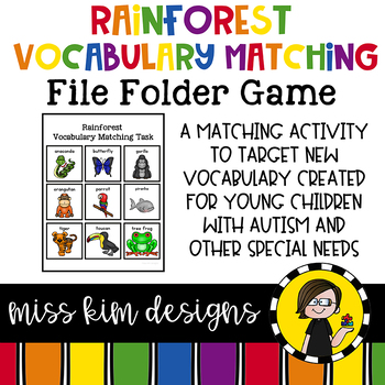 Rainforest Animal Vocabulary Folder Game for Special Education