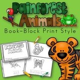 Rainforest Animals Book for Kindergarten and 1st Grade {Block Print Style}