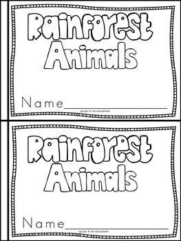 Rainforest Animals Book for Kindergarten and 1st Grade {Block Print Style}