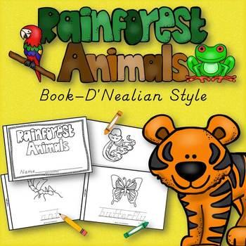 Rainforest Animals Book for Kindergarten and 1st Grade {D'Nealian Style}