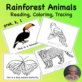 Rainforest Printable Animals Booklet for Reading, Coloring