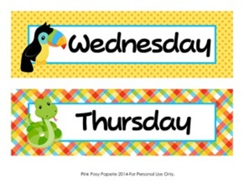 Rainforest Animals Classroom Decor Days of the Week Calendar Headers