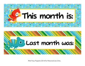 Rainforest Animals Classroom Decor Monthly Calendar Headers