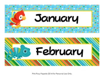Rainforest Animals Classroom Decor Monthly Calendar Headers