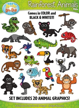 rainforest animals clipart zip a dee doo dah designs tpt
