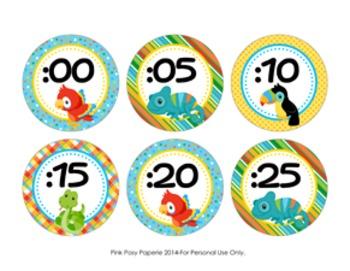 Rainforest Animals Clock Number Labels