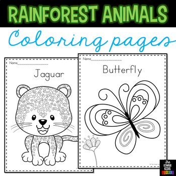 Rainforest Animals Coloring Pages by The Kinder Kids | TpT