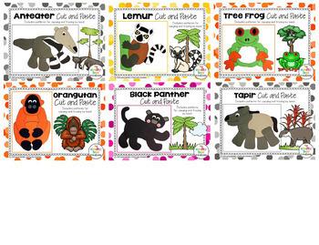 Rainforest Animals Cut and Paste Set