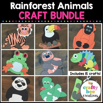 Rainforest Animals Crafts Bundle By Crafty Bee Creations Tpt