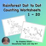 Rainforest Animals Dot to Dot Counting 1 - 20 Printable Pa