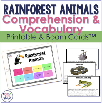 Rainforest Animals Facts:  Expressive and Receptive Language Activities
