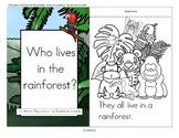 Rainforest Animals Informative Reader plus Puppets, Vocabulary
