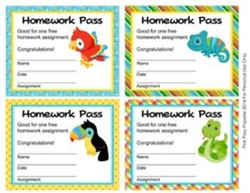Rainforest Animals Homework Passes