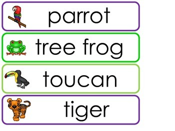 Rainforest Animals  Word Wall Weekly Theme Posters.