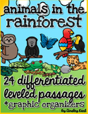 Rainforest Animals - Non-Fiction, No Prep, Leveled Passages + graphic organizers