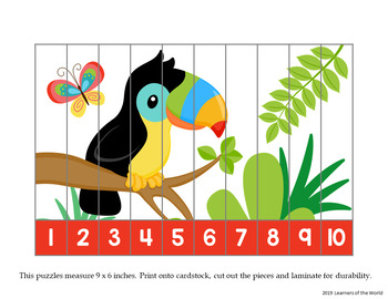 Rainforest Animals Number Order and Skip Counting Strip Puzzles