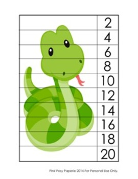 Rainforest Animals Number Strip Puzzles - 5 Designs - Skip Count by 2