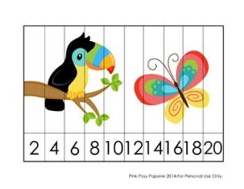 Rainforest Animals Number Strip Puzzles - 5 Designs - Skip
