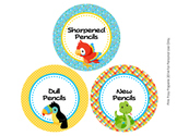 Rainforest Animals Pencil Caddy Labels