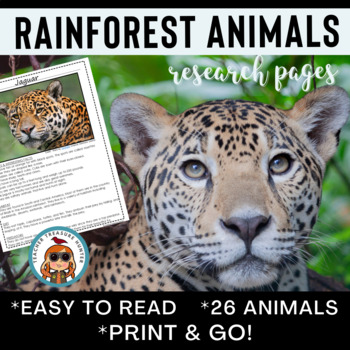 Rainforest Animals Reading & Writing Pages CCSS! 26 creatu