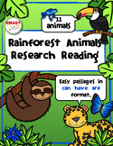 Rainforest Animals Research Reading *UPDATED