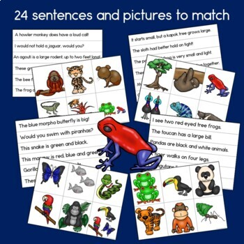 Rainforest Animals Sentence Picture Match Reading Center