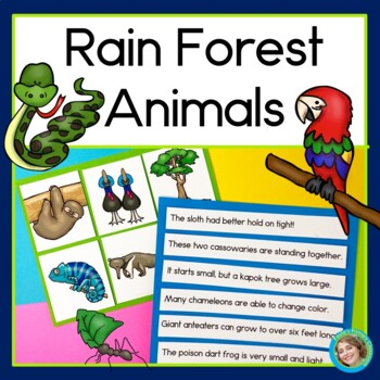 Rainforest Animals Sentence Picture Match
